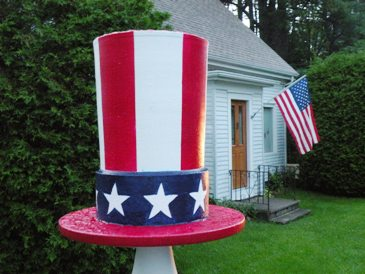 ken shepherd's mailbox finial for the 4th of July: uncle sam's hat