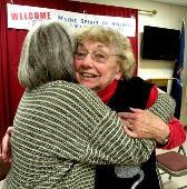 Emily Adler congratulates Ruth Nelson