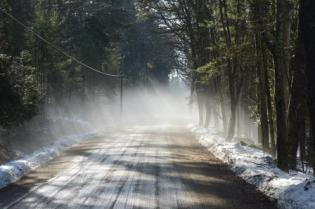 thaw fog on West Shore Road