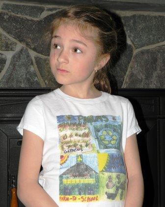 Mara wearing her t-shirt design