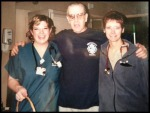 Paul being discharged from the hospital pictured with two of his nurses