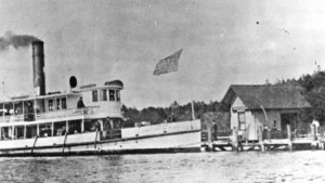 turn of the century steamboat at lower landing, Westport Island