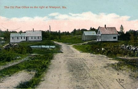 Westport post office pictured on right side of Main Road (early 1900's)