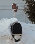 wood crafted football mailbox finial