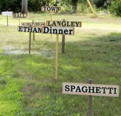 burma shave signs for spaghetti fundraiser