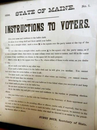 Voter instructions from 1898